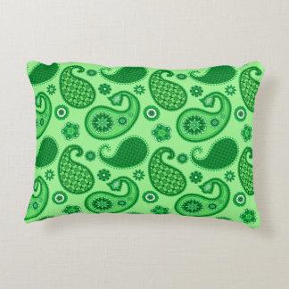 Paisley Pattern, Jade and Emerald Green Decorative Pillow