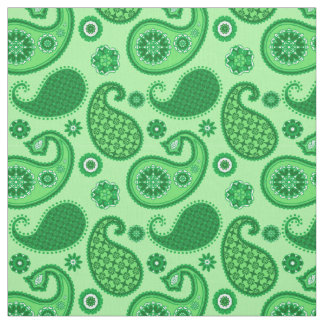 Paisley Pattern, Jade and Emerald Green Fabric
