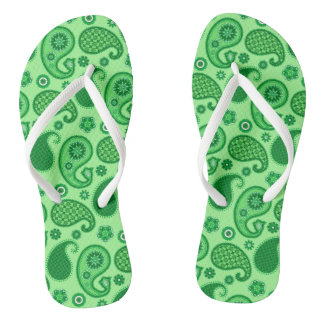 Paisley Pattern, Jade and Emerald Green Flip Flops