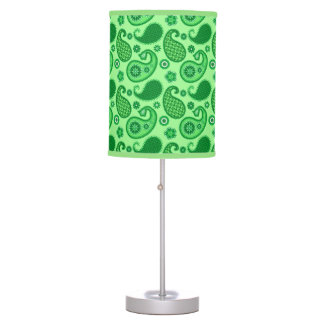 Paisley Pattern, Jade and Emerald Green Table Lamp
