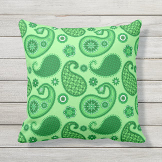 Paisley Pattern, Jade and Emerald Green Throw Pillow