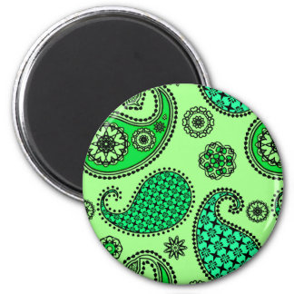 Paisley pattern, jade and mint green 2 inch round magnet
