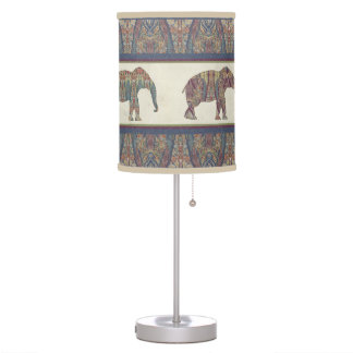 Paisley Pattern Kashmir BOHO Vintage Elephant Art Table Lamp