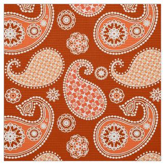 Paisley pattern, Mandarin Orange and White Fabric