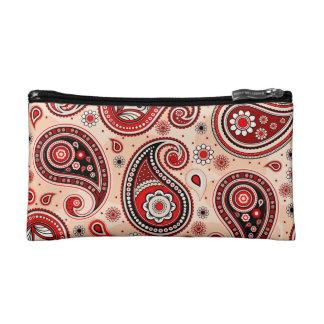 Paisley pattern maroon red beige elegant makeup bag