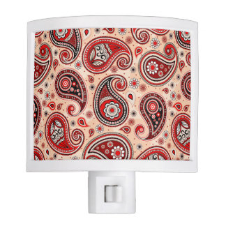 Paisley pattern maroon red beige elegant night light