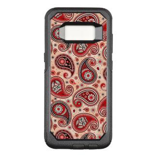 Paisley pattern maroon red beige elegant OtterBox commuter samsung galaxy s8 case