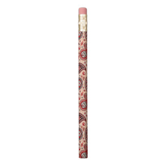 Paisley pattern maroon red beige elegant pencil