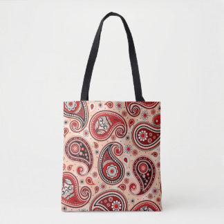 Paisley pattern maroon red beige elegant tote bag