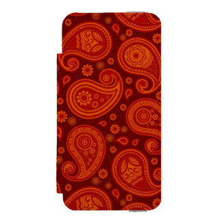 Paisley pattern maroon red elegant incipio watson™ iPhone 5 wallet case