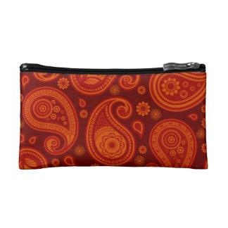 Paisley pattern maroon red elegant makeup bag