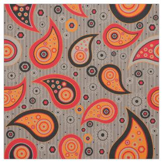 Paisley pattern orange red brown fabric