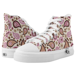 Paisley pattern pink and brown high tops