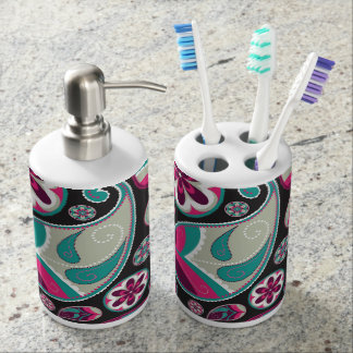 Paisley Pattern Pink and Teal Bath Accessory Set