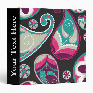 Paisley Pattern Pink and Teal Binder