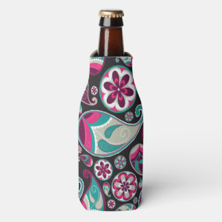 Paisley Pattern Pink and Teal Bottle Cooler