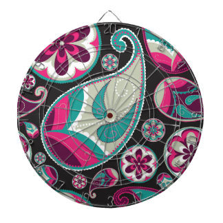 Paisley Pattern Pink and Teal Dartboard