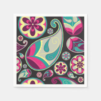 Paisley Pattern Pink and Teal Disposable Napkin