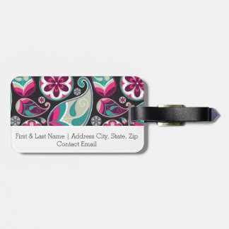 Paisley Pattern Pink and Teal Luggage Tag