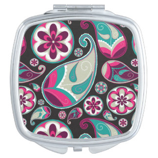 Paisley Pattern Pink and Teal Makeup Mirror