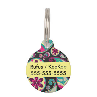 Paisley Pattern Pink and Teal Pet Name Tag