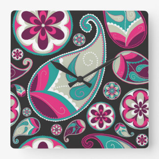 Paisley Pattern Pink and Teal Square Wall Clock