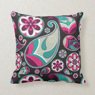 Paisley Pattern Pink and Teal Throw Pillow