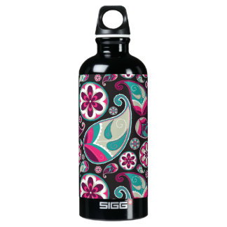 Paisley Pattern Pink and Teal Water Bottle