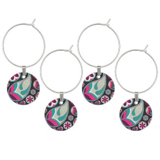 Paisley Pattern Pink and Teal Wine Glass Charm