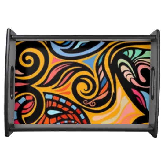 Paisley Pattern Print Serving Tray
