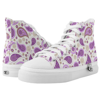 Paisley pattern purple and brown high tops