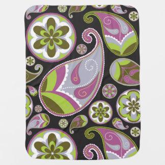 Paisley Pattern Purple Green Baby Blanket