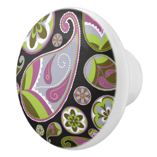 Paisley Pattern Purple Green Ceramic Knob