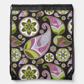 Paisley Pattern Purple Green Drawstring Bag