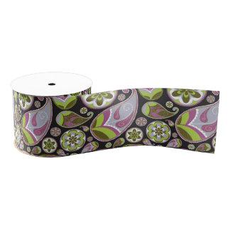 Paisley Pattern Purple Green Grosgrain Ribbon