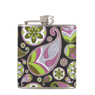 Paisley Pattern Purple Green Hip Flask