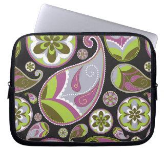 Paisley Pattern Purple Green Laptop Sleeve