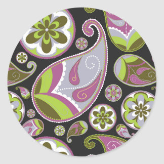 Paisley Pattern Purple Green Round Sticker
