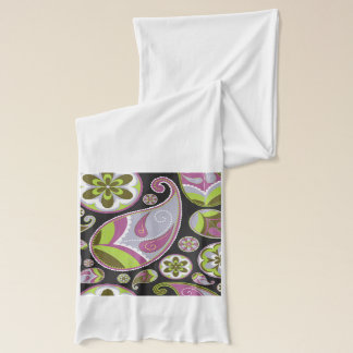 Paisley Pattern Purple Green Scarf