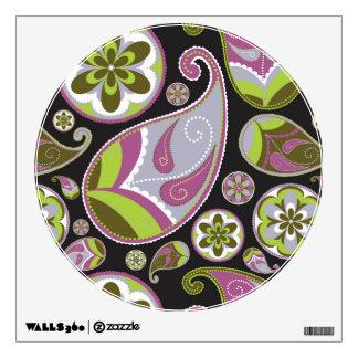 Paisley Pattern Purple Green Wall Sticker