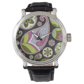Paisley Pattern Purple Green Watch