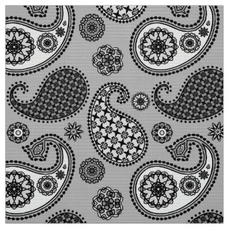 Paisley pattern, shades of grey, black and white fabric