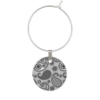 Paisley pattern, shades of grey, black and white wine glass charms