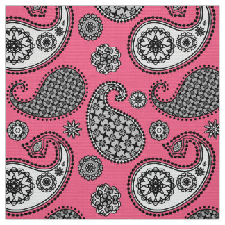 Paisley pattern, shades of grey on pink fabric