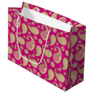 Paisley pattern, Soft Gold on Deep Fuchsia Pink Large Gift Bag
