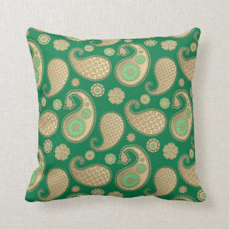 Paisley pattern, Soft Gold on Emerald Green Throw Pillow