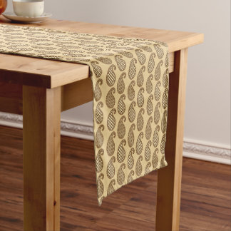Paisley pattern, tan, cream and chocolate short table runner