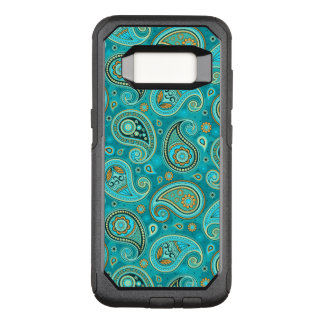 Paisley Pattern teal blue OtterBox Commuter Samsung Galaxy S8 Case