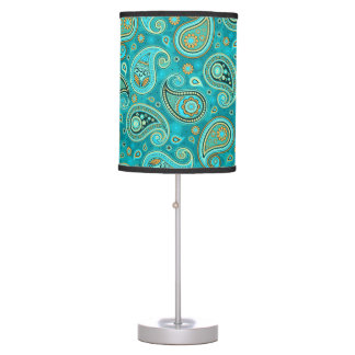 Paisley Pattern teal blue Table Lamp