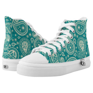 Paisley pattern teal high tops
